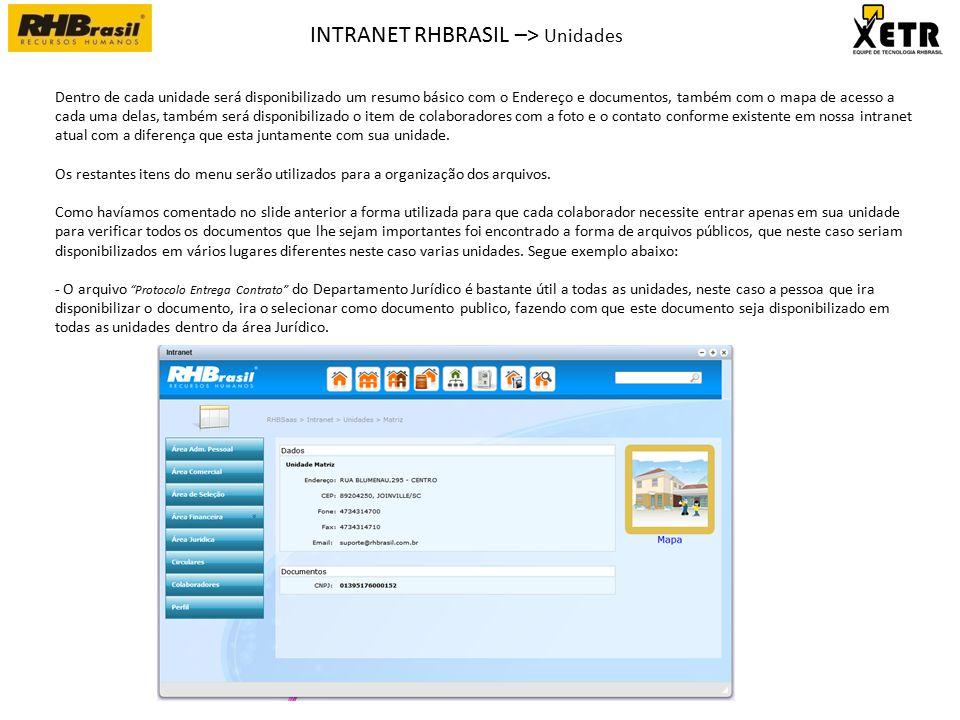 INTRANET RHBRASIL –> Unidades -> Areas com documentos Dentro de área os documentos serão sempre disponibilizado da mesma maneira possibilitando a ordenação por Nome e Data de upload do arquivo, será também possível efetuar um filtro de arquivos para que se consiga resumir a quantidade de arquivos na mesma tela facilitando a sua procura.