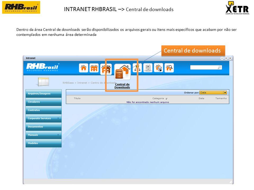 INTRANET RHBRASIL –> Central de downloads Central de downloads Dentro da área Central de downloads serão disponibilizados os arquivos gerais ou itens mais específicos que acabam por não ser contemplados em nenhuma área determinada