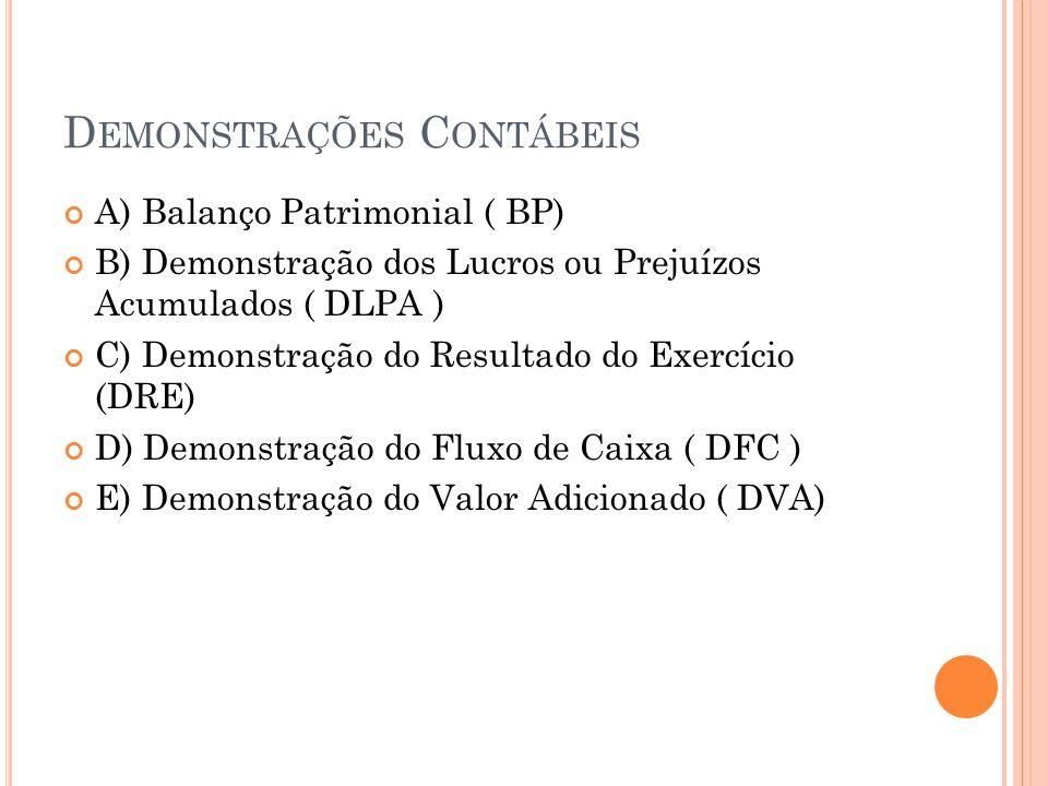 D EMONSTRAÇÕES C ONTÁBEIS A) Balanço Patrimonial ( BP) B) Demonstração dos Lucros ou Prejuízos Acumulados ( DLPA ) C) Demonstração do Resultado do Exe