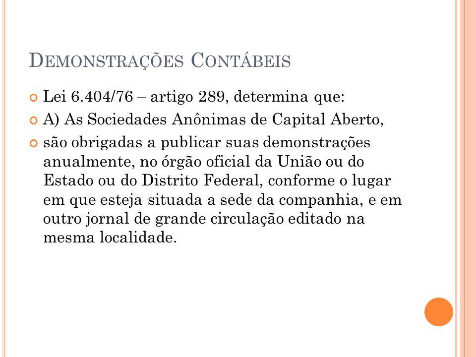 D EMONSTRAÇÕES C ONTÁBEIS Lei 6.404/76 – artigo 289, determina que: A) As Sociedades Anônimas de Capital Aberto, são obrigadas a publicar suas demonst