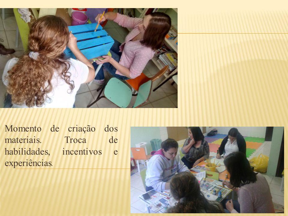 Momento de criação dos materiais. Troca de habilidades, incentivos e experiências.