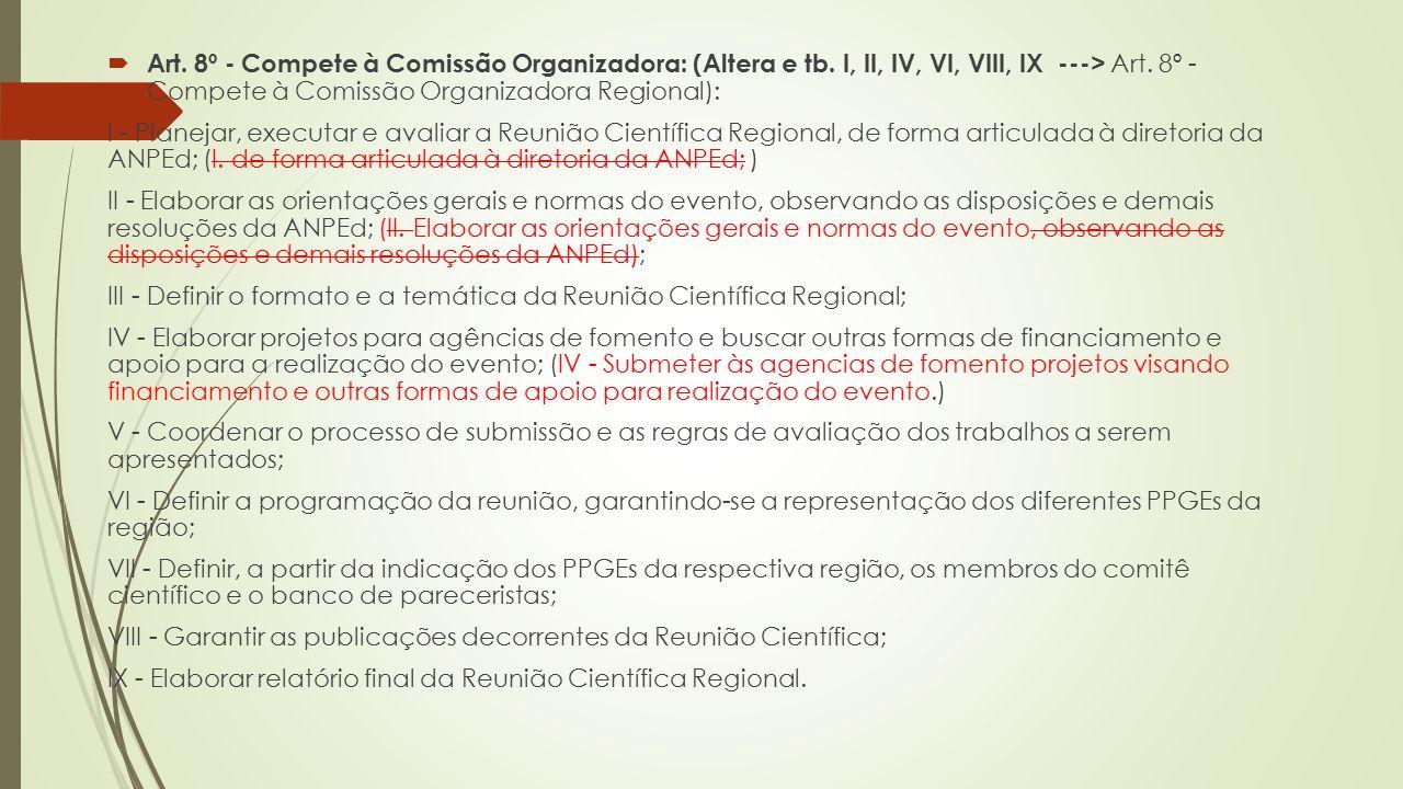  Art.8º - Compete à Comissão Organizadora: (Altera e tb.