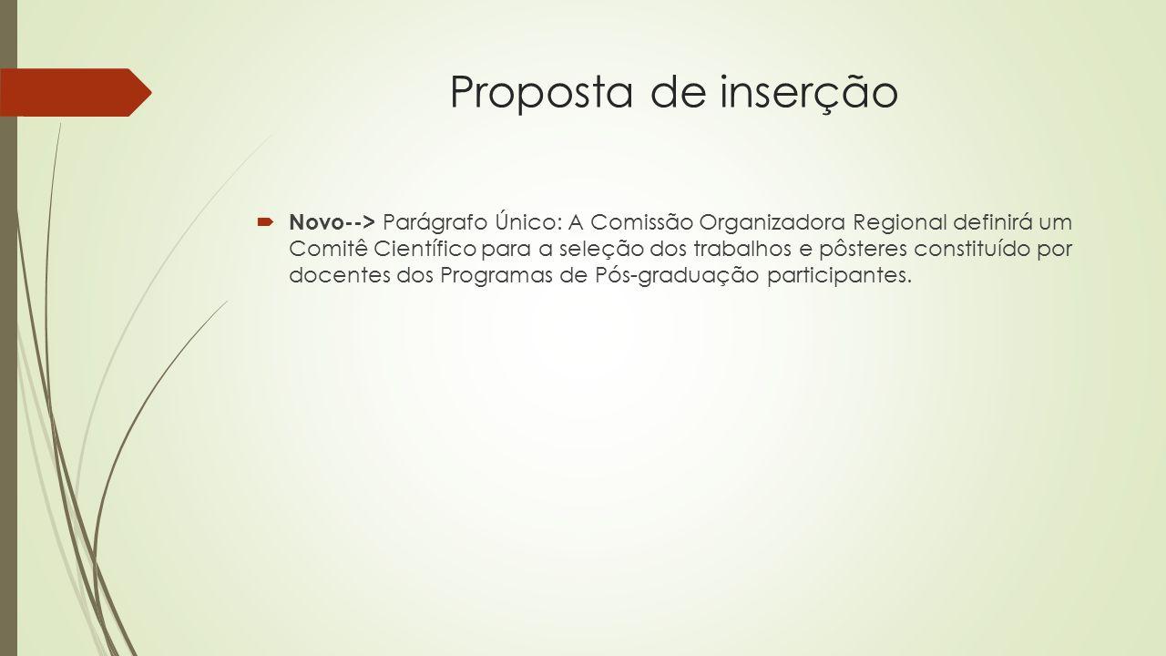 Proposta de inserção  Novo--> Parágrafo Único: A Comissão Organizadora Regional definirá um Comitê Científico para a seleção dos trabalhos e pôsteres constituído por docentes dos Programas de Pós-graduação participantes.