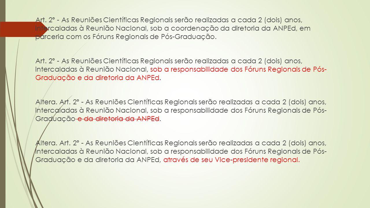 Art. 2º - As Reuniões Científicas Regionais serão realizadas a cada 2 (dois) anos, intercaladas à Reunião Nacional, sob a coordenação da diretoria da