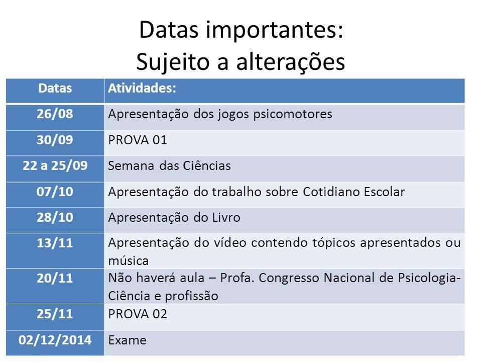 Datas importantes: Sujeito a alterações DatasAtividades: 26/08Apresentação dos jogos psicomotores 30/09PROVA 01 22 a 25/09Semana das Ciências 07/10Apr