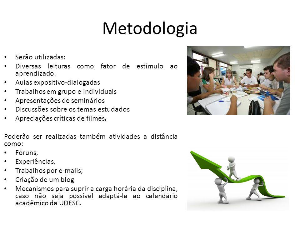 Metodologia Serão utilizadas: Diversas leituras como fator de estímulo ao aprendizado. Aulas expositivo-dialogadas Trabalhos em grupo e individuais Ap