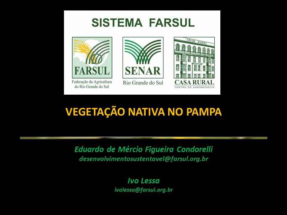 VEGETAÇÃO NATIVA NO PAMPA Eduardo de Mércio Figueira Condorelli desenvolvimentosustentavel@farsul.org.br Ivo Lessa ivolessa@farsul.org.br