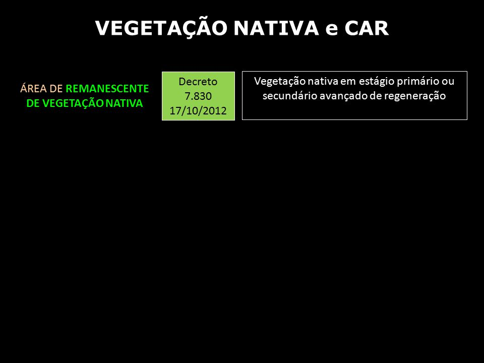 Vegetação nativa em estágio primário ou secundário avançado de regeneração Decreto 7.830 17/10/2012 ÁREA DE REMANESCENTE DE VEGETAÇÃO NATIVA VEGETAÇÃO