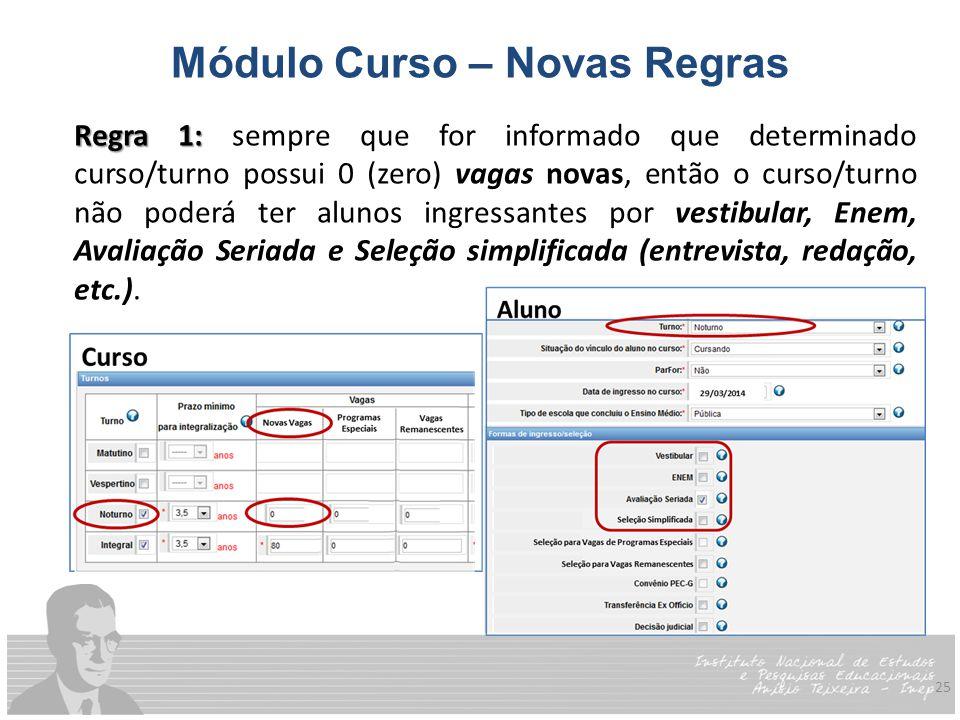 25 Módulo Curso – Novas Regras Regra 1: Regra 1: sempre que for informado que determinado curso/turno possui 0 (zero) vagas novas, então o curso/turno