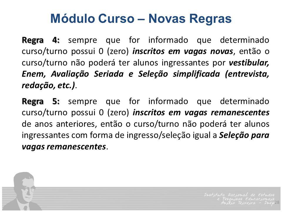 28 Módulo Curso – Novas Regras Regra 4: Regra 4: sempre que for informado que determinado curso/turno possui 0 (zero) inscritos em vagas novas, então