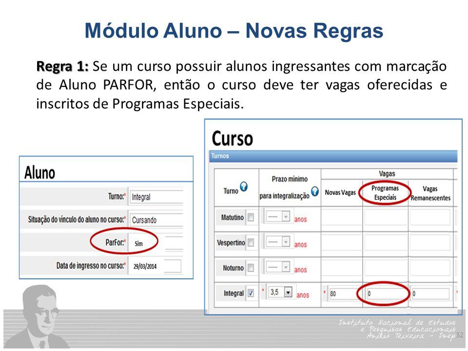 32 Módulo Aluno – Novas Regras Regra 1: Regra 1: Se um curso possuir alunos ingressantes com marcação de Aluno PARFOR, então o curso deve ter vagas of