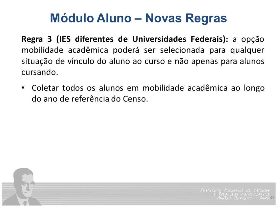 34 Módulo Aluno – Novas Regras Regra 3 (IES diferentes de Universidades Federais): a opção mobilidade acadêmica poderá ser selecionada para qualquer s