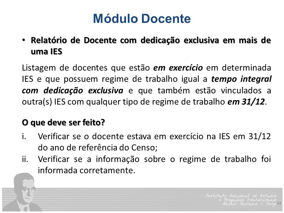 44 Módulo Docente Relatório de Docente com dedicação exclusiva em mais de uma IES Relatório de Docente com dedicação exclusiva em mais de uma IES List