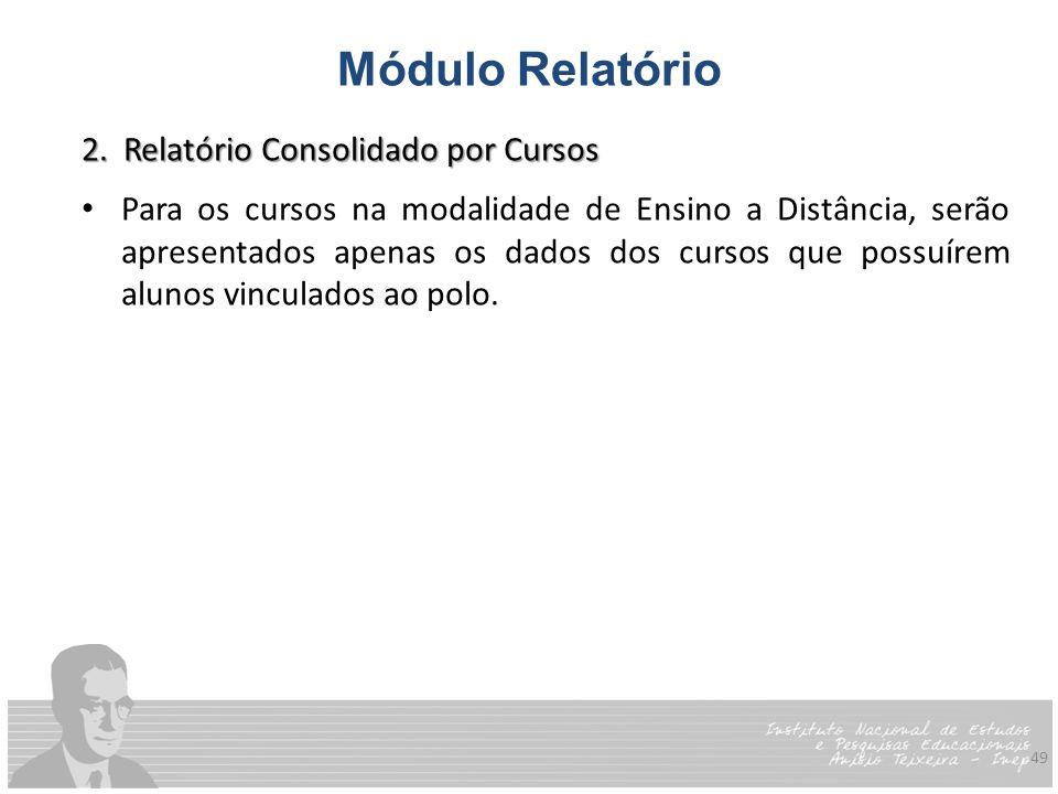 49 Módulo Relatório 2. Relatório Consolidado por Cursos Para os cursos na modalidade de Ensino a Distância, serão apresentados apenas os dados dos cur