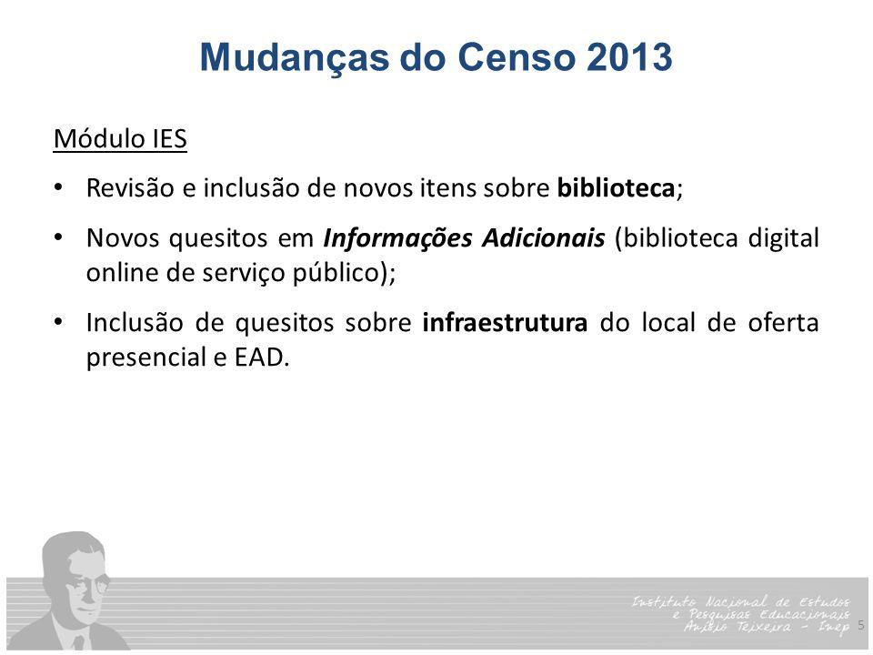 5 Mudanças do Censo 2013 Módulo IES Revisão e inclusão de novos itens sobre biblioteca; Novos quesitos em Informações Adicionais (biblioteca digital o