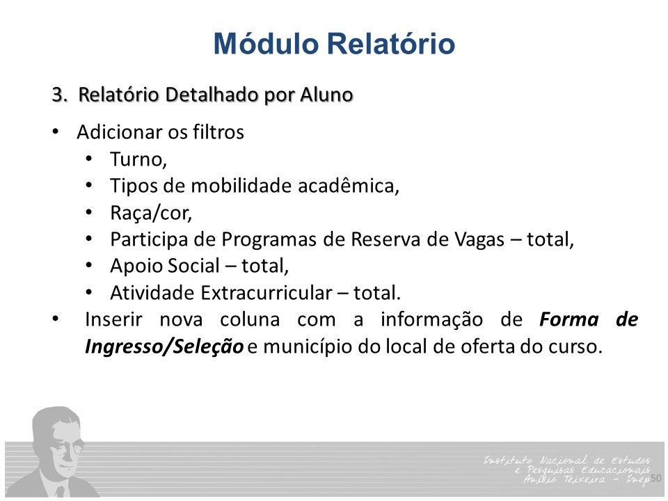 50 Módulo Relatório 3. Relatório Detalhado por Aluno Adicionar os filtros Turno, Tipos de mobilidade acadêmica, Raça/cor, Participa de Programas de Re