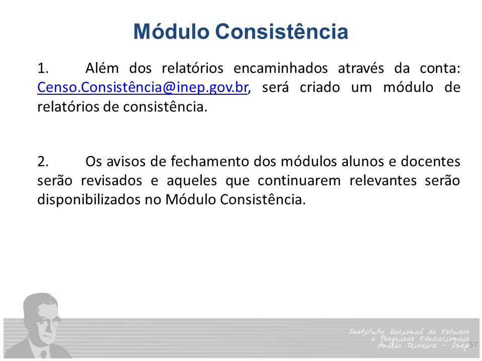 57 Módulo Consistência 1.Além dos relatórios encaminhados através da conta: Censo.Consistência@inep.gov.br, será criado um módulo de relatórios de con