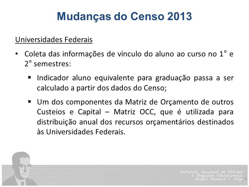 6 Mudanças do Censo 2013 Universidades Federais Coleta das informações de vínculo do aluno ao curso no 1° e 2° semestres:  Indicador aluno equivalent