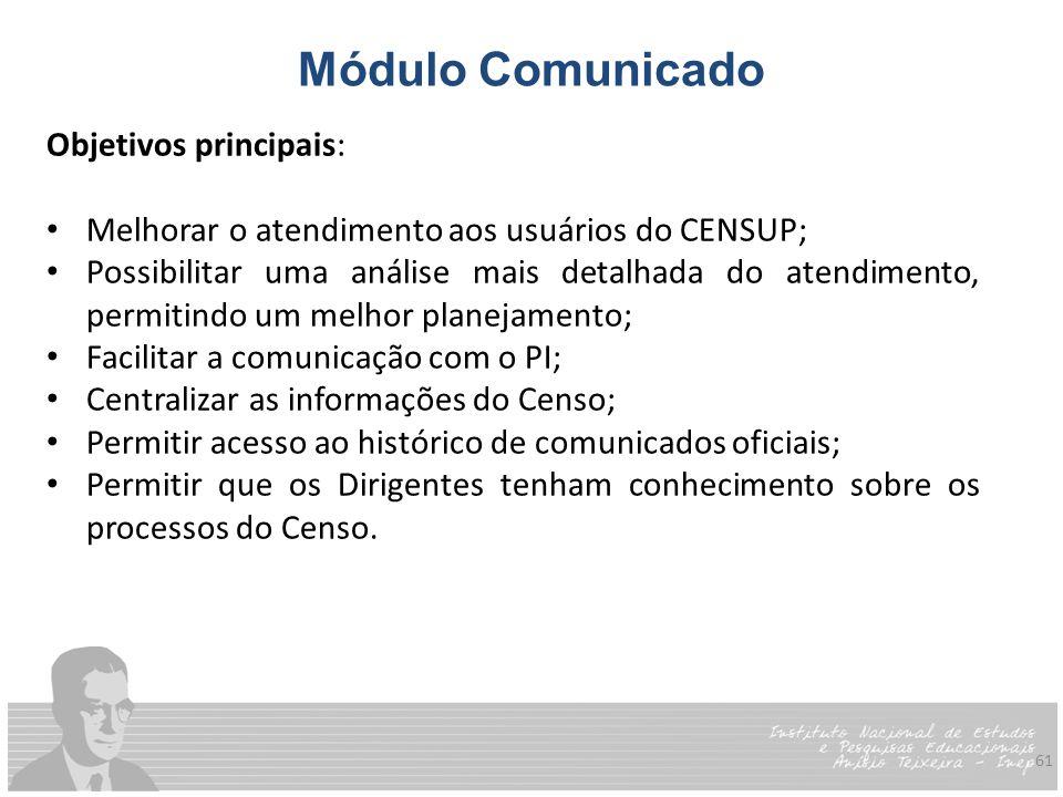 61 Módulo Comunicado Objetivos principais: Melhorar o atendimento aos usuários do CENSUP; Possibilitar uma análise mais detalhada do atendimento, perm