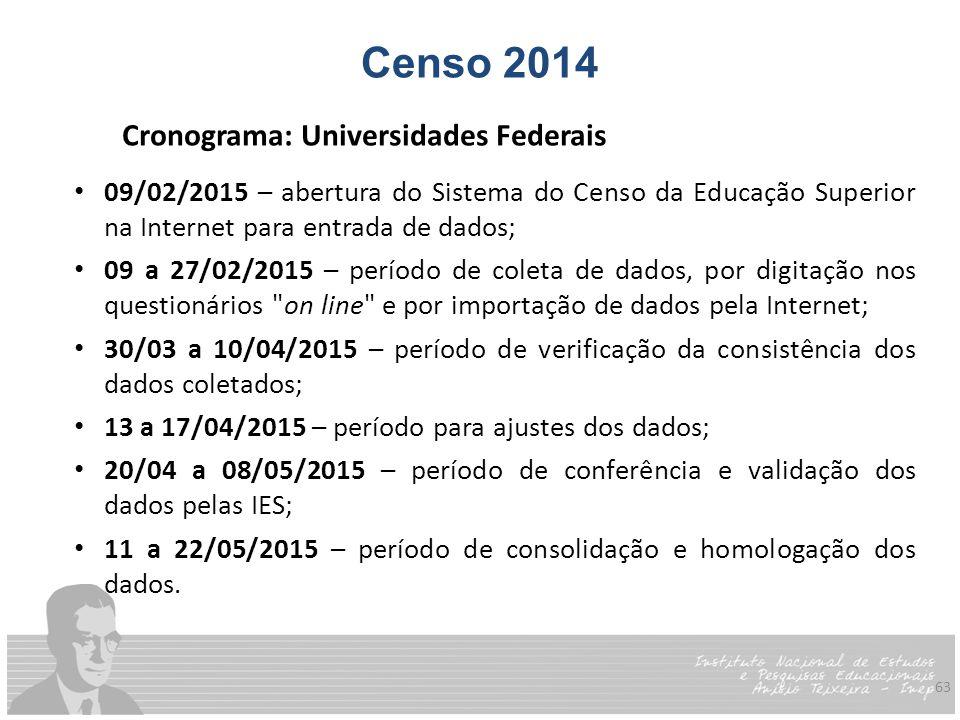 63 Censo 2014 Cronograma: Universidades Federais 09/02/2015 – abertura do Sistema do Censo da Educação Superior na Internet para entrada de dados; 09