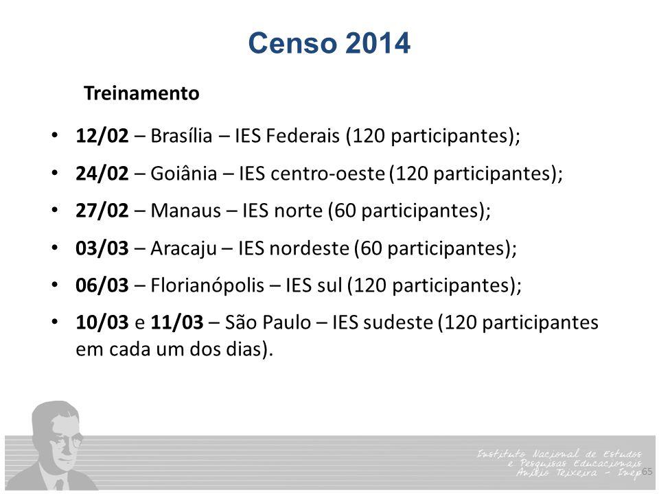 65 Censo 2014 Treinamento 12/02 – Brasília – IES Federais (120 participantes); 24/02 – Goiânia – IES centro-oeste (120 participantes); 27/02 – Manaus