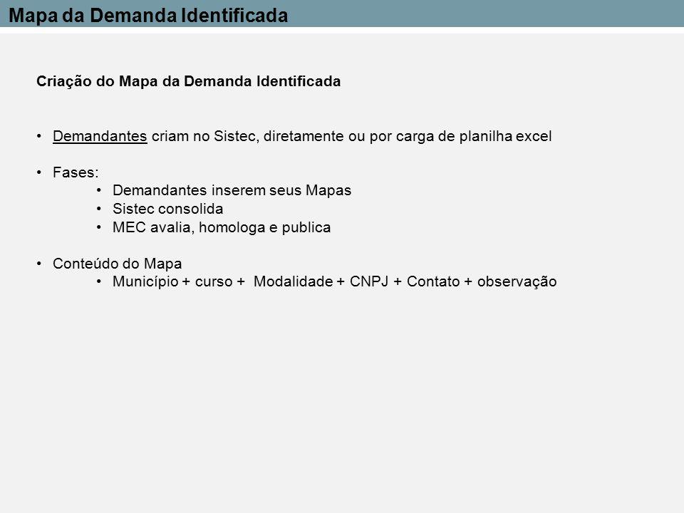 Criação do Mapa da Demanda Identificada Demandantes criam no Sistec, diretamente ou por carga de planilha excel Fases: Demandantes inserem seus Mapas