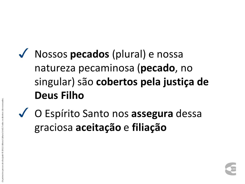 ✓ Nossos pecados (plural) e nossa natureza pecaminosa (pecado, no singular) são cobertos pela justiça de Deus Filho ✓ O Espírito Santo nos assegura de