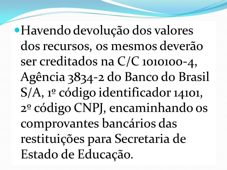 Havendo devolução dos valores dos recursos, os mesmos deverão ser creditados na C/C 1010100-4, Agência 3834-2 do Banco do Brasil S/A, 1º código identificador 14101, 2º código CNPJ, encaminhando os comprovantes bancários das restituições para Secretaria de Estado de Educação.