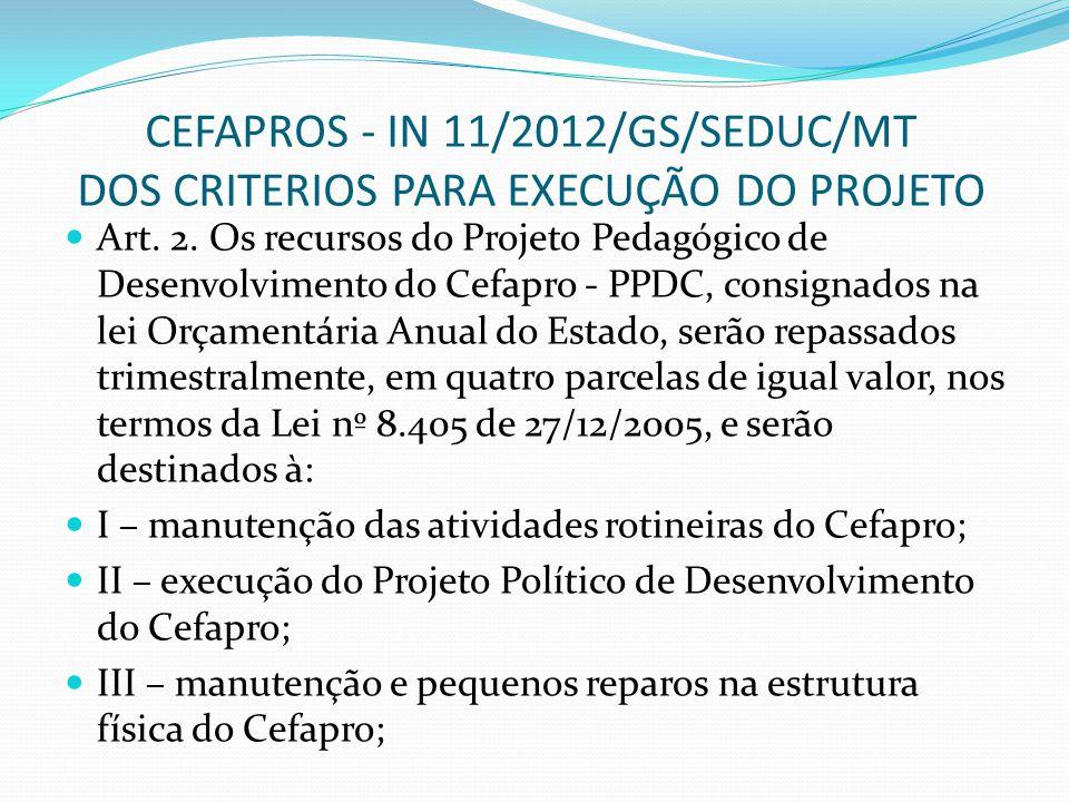 CEFAPROS - IN 11/2012/GS/SEDUC/MT DOS CRITERIOS PARA EXECUÇÃO DO PROJETO Art.