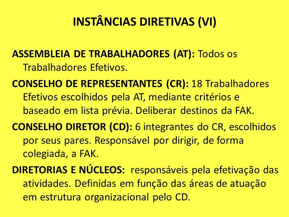 INSTÂNCIAS DIRETIVAS (VI) ASSEMBLEIA DE TRABALHADORES (AT): Todos os Trabalhadores Efetivos. CONSELHO DE REPRESENTANTES (CR): 18 Trabalhadores Efetivo