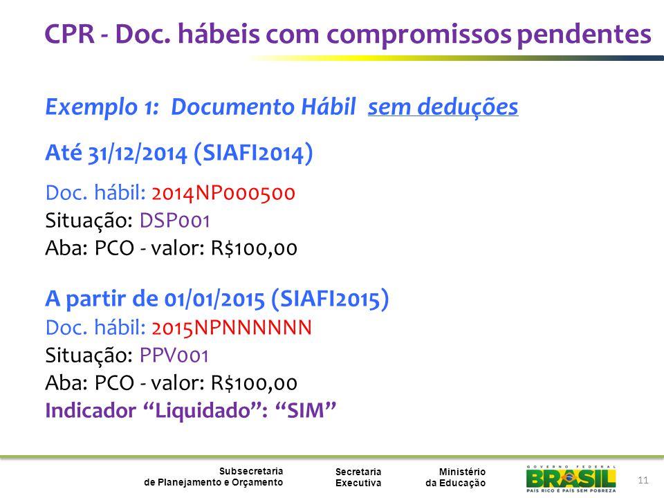 Ministério da Educação Subsecretaria de Planejamento e Orçamento Secretaria Executiva 11 Exemplo 1: Documento Hábil sem deduções Até 31/12/2014 (SIAFI2014) Doc.
