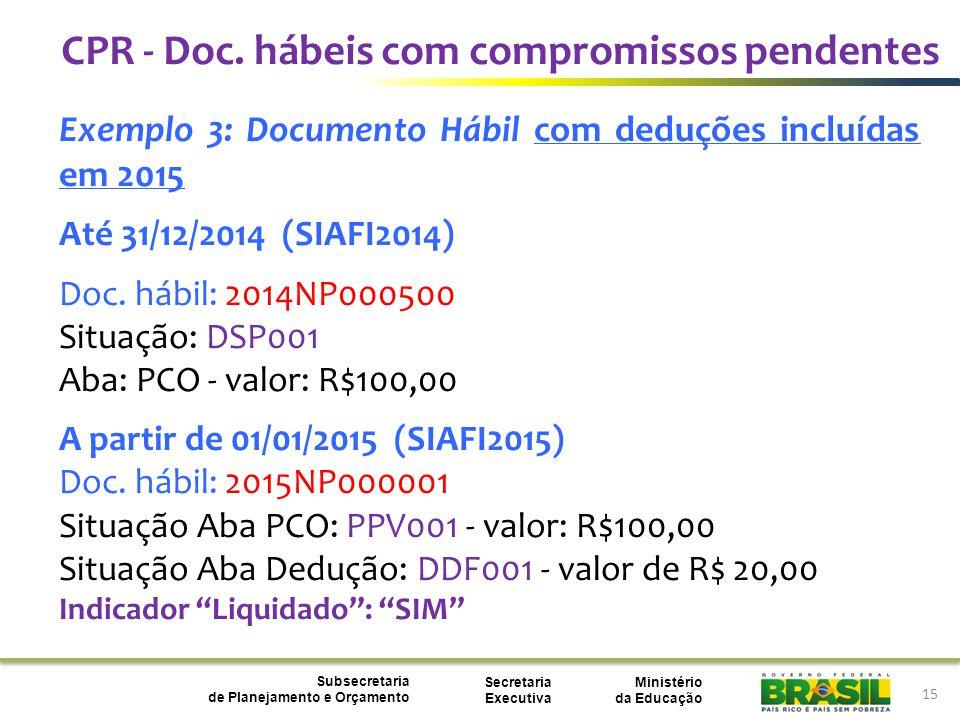 Ministério da Educação Subsecretaria de Planejamento e Orçamento Secretaria Executiva 15 Exemplo 3: Documento Hábil com deduções incluídas em 2015 Até 31/12/2014 (SIAFI2014) Doc.