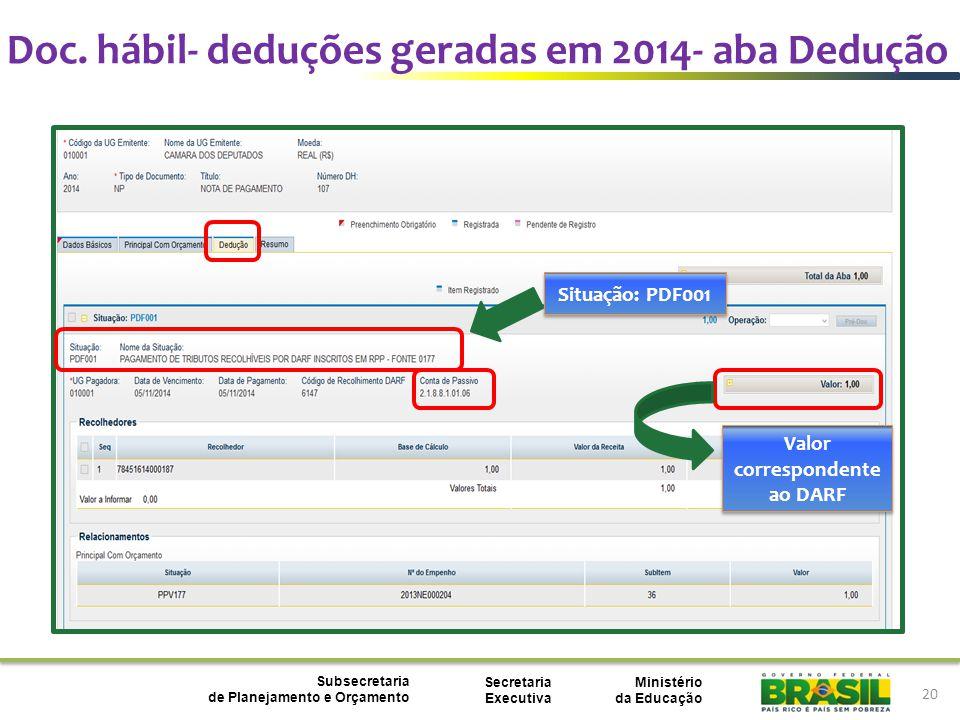 Ministério da Educação Subsecretaria de Planejamento e Orçamento Secretaria Executiva 20 Situação: PDF001 Valor correspondente ao DARF Doc.