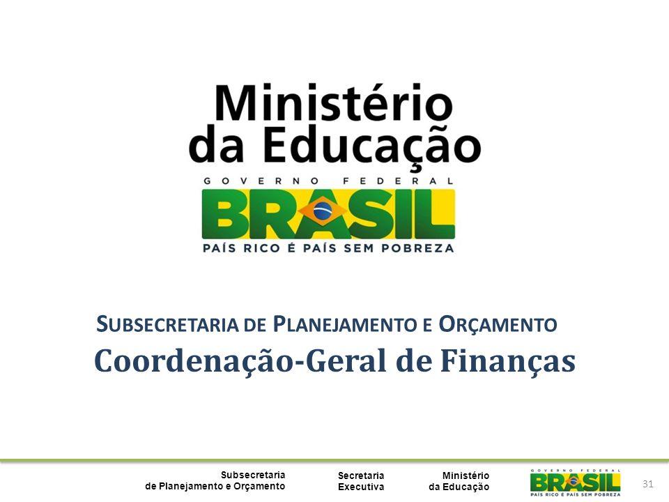 Ministério da Educação Subsecretaria de Planejamento e Orçamento Secretaria Executiva 31 Coordenação-Geral de Finanças S UBSECRETARIA DE P LANEJAMENTO E O RÇAMENTO