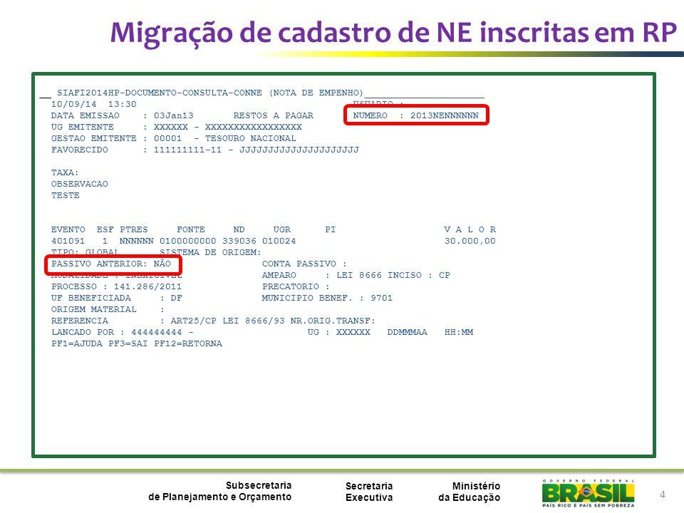 Ministério da Educação Subsecretaria de Planejamento e Orçamento Secretaria Executiva 4 Migração de cadastro de NE inscritas em RP __ SIAFI2014HP-DOCUMENTO-CONSULTA-CONNE (NOTA DE EMPENHO)_____________________ 10/09/14 13:30 USUARIO : DATA EMISSAO : 03Jan13 RESTOS A PAGAR NUMERO : 2013NENNNNNN UG EMITENTE : XXXXXX - XXXXXXXXXXXXXXXXX GESTAO EMITENTE : 00001 - TESOURO NACIONAL FAVORECIDO : 111111111-11 - JJJJJJJJJJJJJJJJJJJJJ TAXA: OBSERVACAO TESTE EVENTO ESF PTRES FONTE ND UGR PI V A L O R 401091 1 NNNNNN 0100000000 339036 010024 30.000,00 TIPO: GLOBAL SISTEMA DE ORIGEM: PASSIVO ANTERIOR: NÃO CONTA PASSIVO : MODALIDADE : INEXIGIVEL AMPARO : LEI 8666 INCISO : CP PROCESSO : 141.286/2011 PRECATORIO : UF BENEFICIADA : DF MUNICIPIO BENEF.