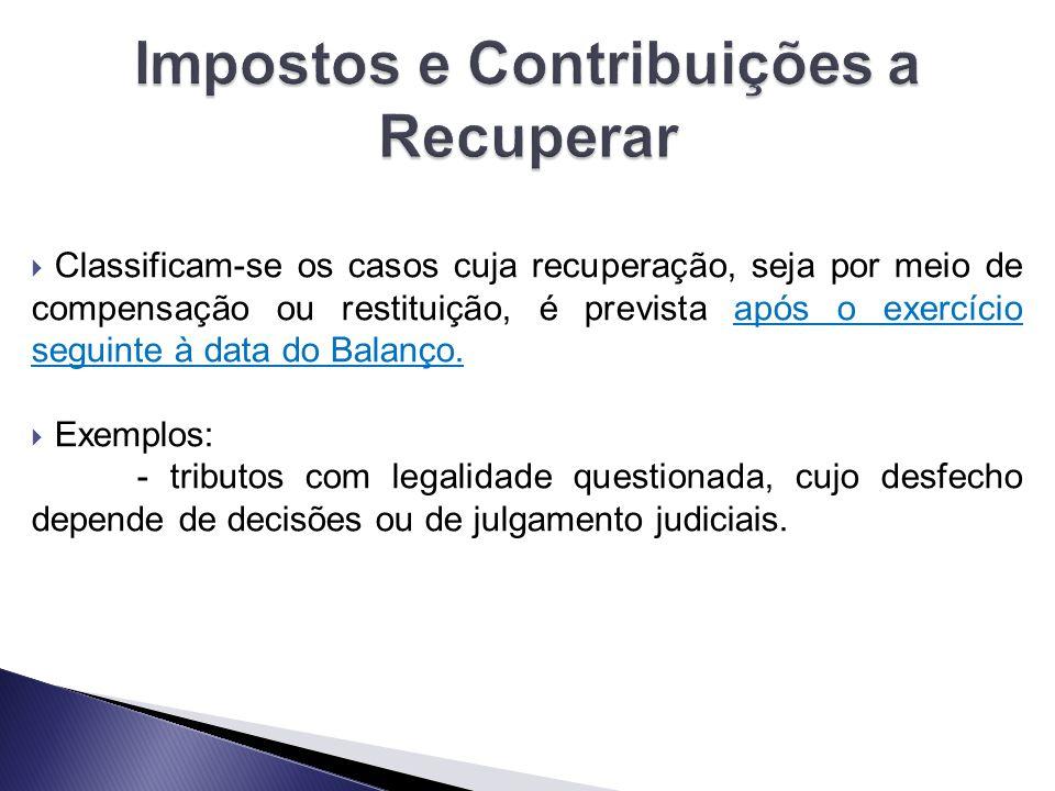  Classificam-se os casos cuja recuperação, seja por meio de compensação ou restituição, é prevista após o exercício seguinte à data do Balanço.  Exe