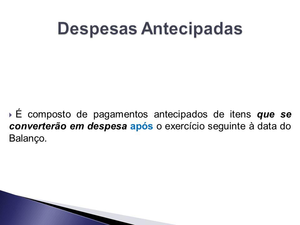  É composto de pagamentos antecipados de itens que se converterão em despesa após o exercício seguinte à data do Balanço.