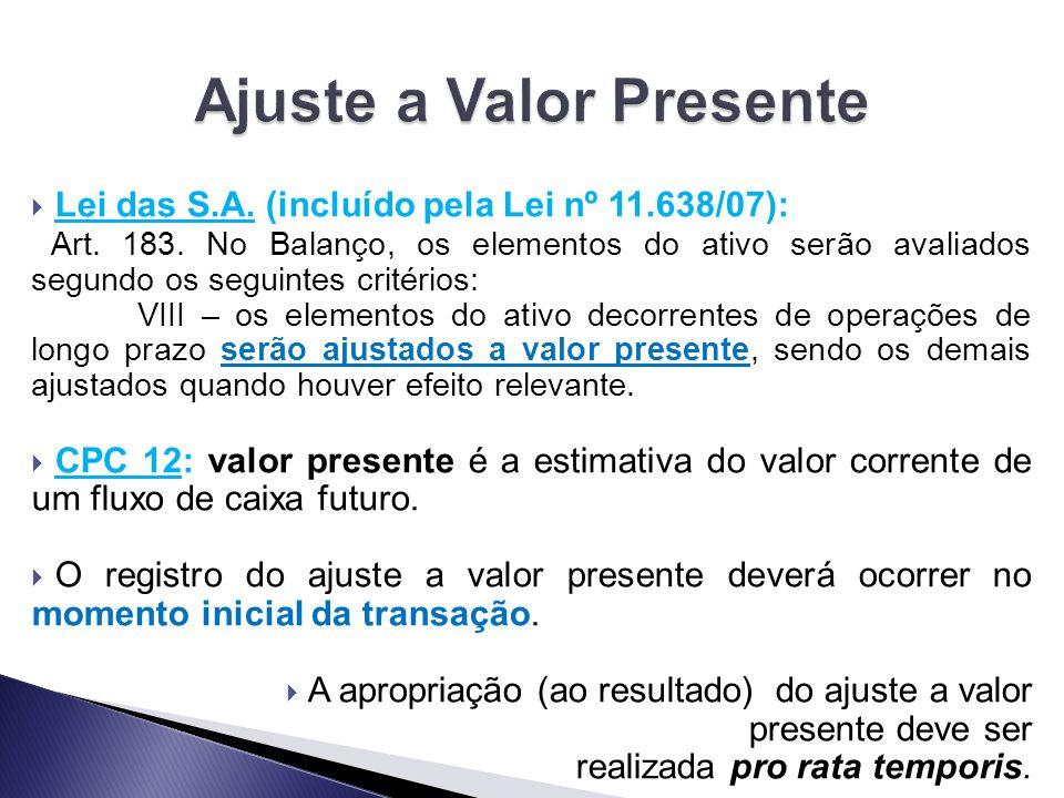  Lei das S.A. (incluído pela Lei nº 11.638/07): Art. 183. No Balanço, os elementos do ativo serão avaliados segundo os seguintes critérios: VIII – os