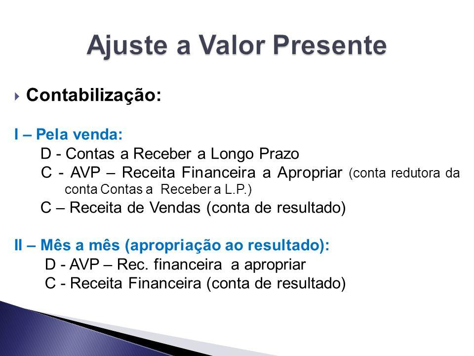  Contabilização: I – Pela venda: D - Contas a Receber a Longo Prazo C - AVP – Receita Financeira a Apropriar (conta redutora da conta Contas a Recebe