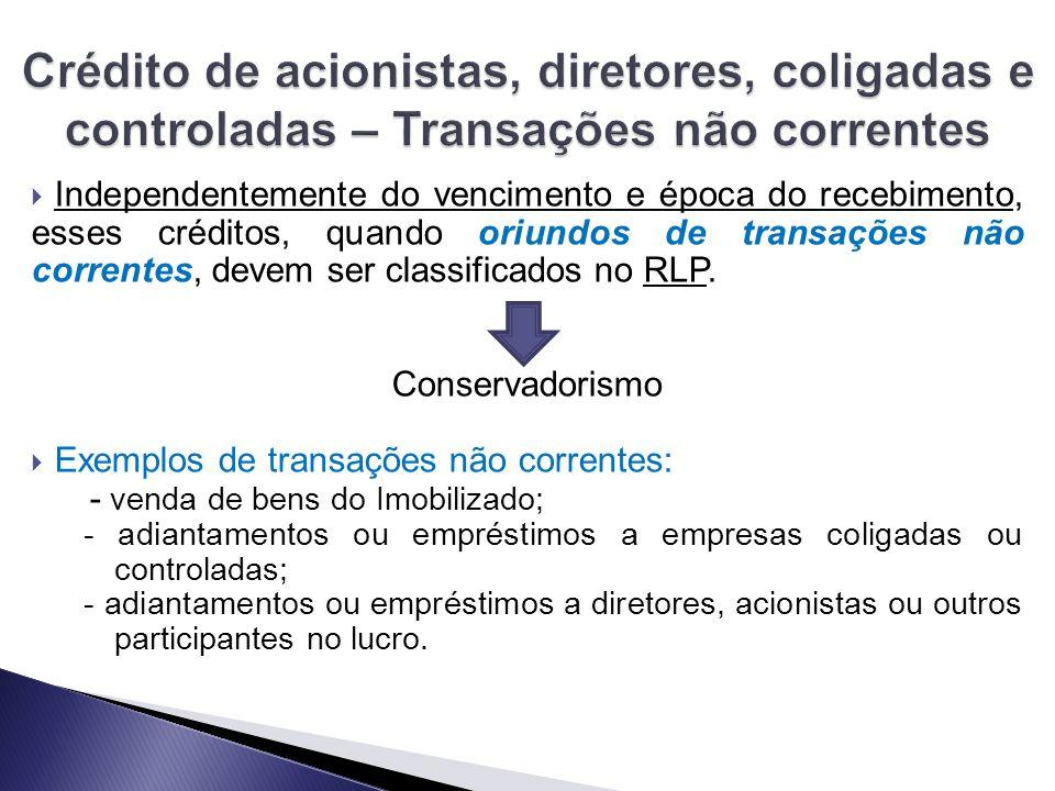  Independentemente do vencimento e época do recebimento, esses créditos, quando oriundos de transações não correntes, devem ser classificados no RLP.