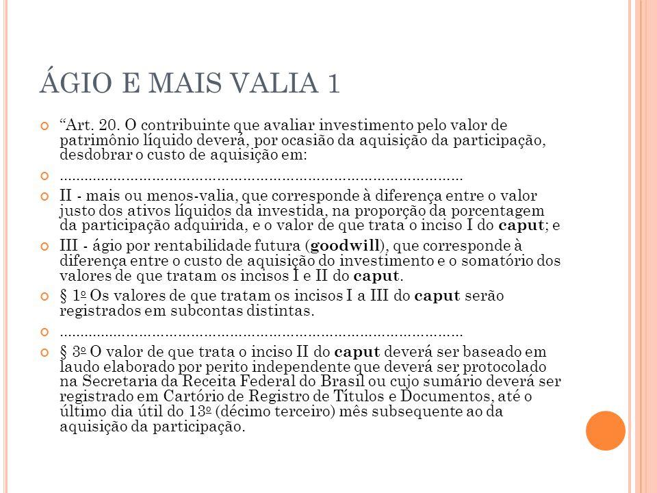 ÁGIO E MAIS VALIA 1 Art.20.