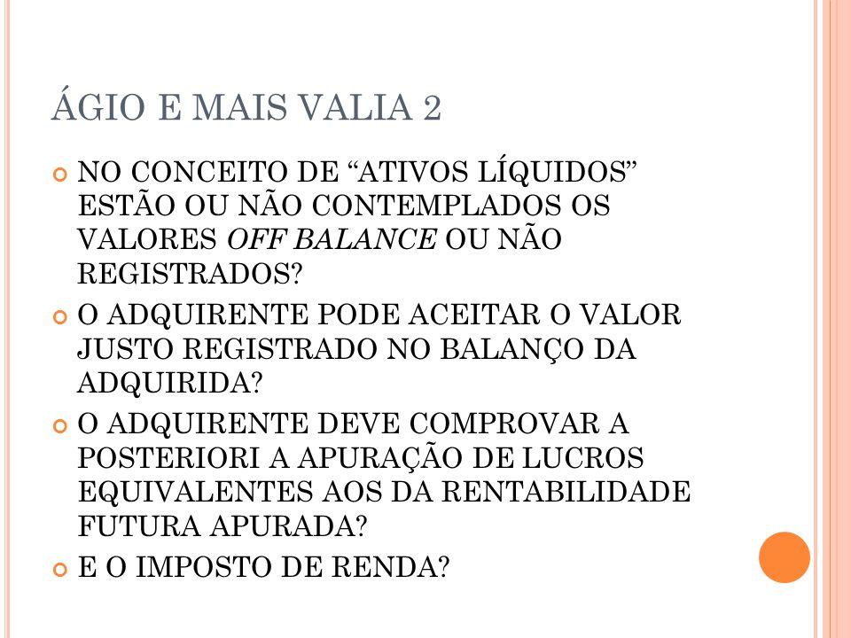 ÁGIO E MAIS VALIA 2 NO CONCEITO DE ATIVOS LÍQUIDOS ESTÃO OU NÃO CONTEMPLADOS OS VALORES OFF BALANCE OU NÃO REGISTRADOS.