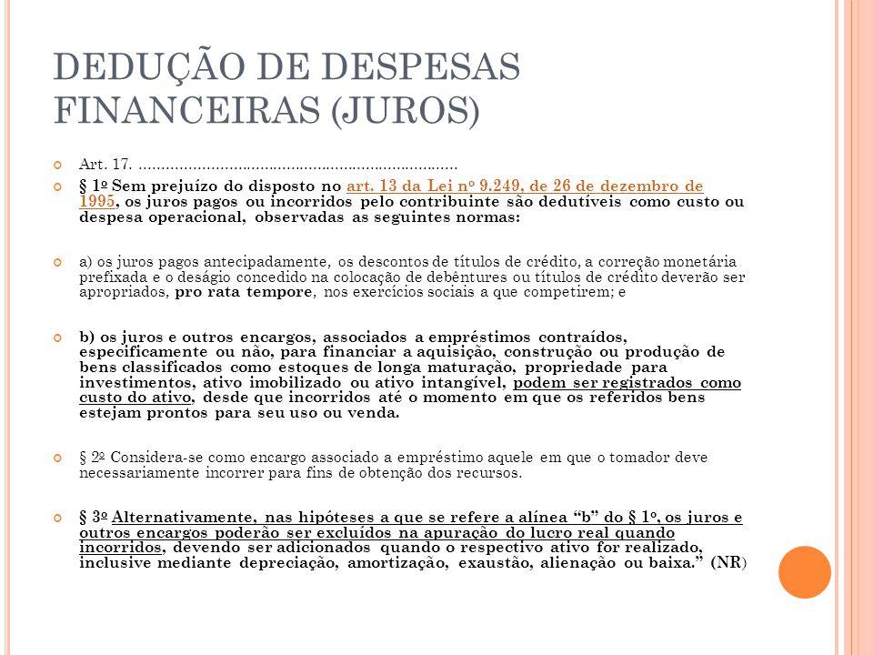 DEDUÇÃO DE DESPESAS FINANCEIRAS (JUROS) Art.