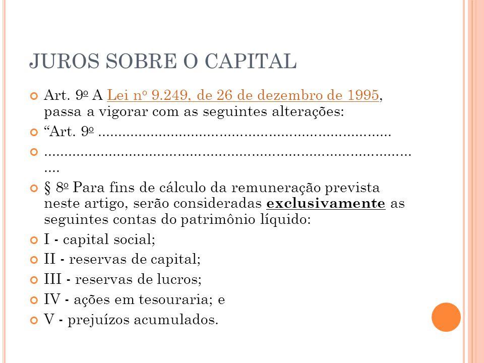 JUROS SOBRE O CAPITAL Art.
