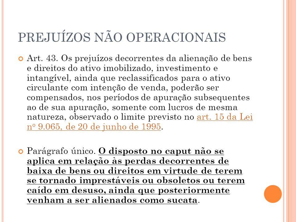 PREJUÍZOS NÃO OPERACIONAIS Art.43.
