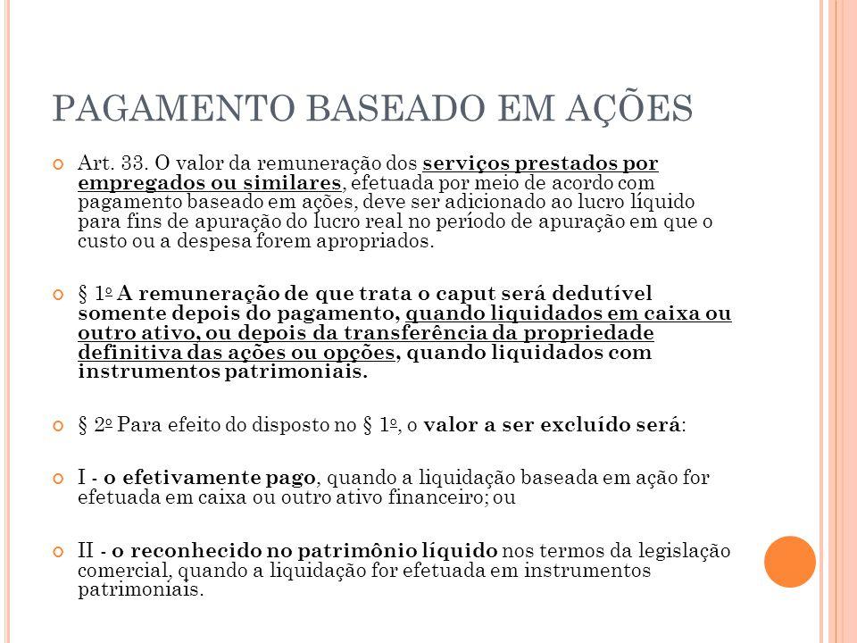 PAGAMENTO BASEADO EM AÇÕES Art. 33. O valor da remuneração dos serviços prestados por empregados ou similares, efetuada por meio de acordo com pagamen