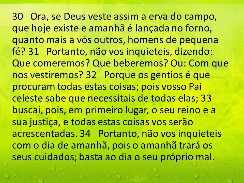 30 Ora, se Deus veste assim a erva do campo, que hoje existe e amanhã é lançada no forno, quanto mais a vós outros, homens de pequena fé? 31 Portanto,