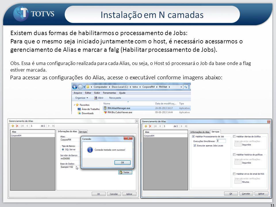Instalação em N camadas 11 Existem duas formas de habilitarmos o processamento de Jobs: Para que o mesmo seja iniciado juntamente com o host, é necess