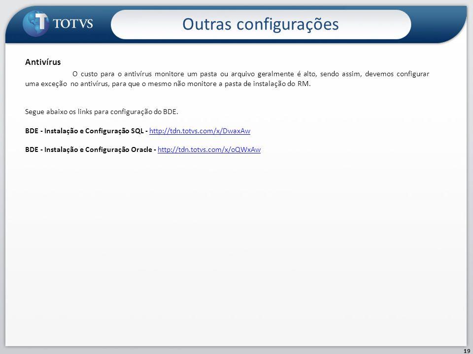 Outras configurações 19 Antivírus O custo para o antivírus monitore um pasta ou arquivo geralmente é alto, sendo assim, devemos configurar uma exceção