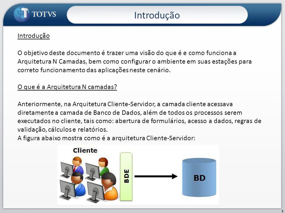 Introdução 4 Na Arquitetura N camadas, apesar da complexidade do ambiente, a divisão das tarefas em camadas possibilita maior distribuição do processamento do sistema.